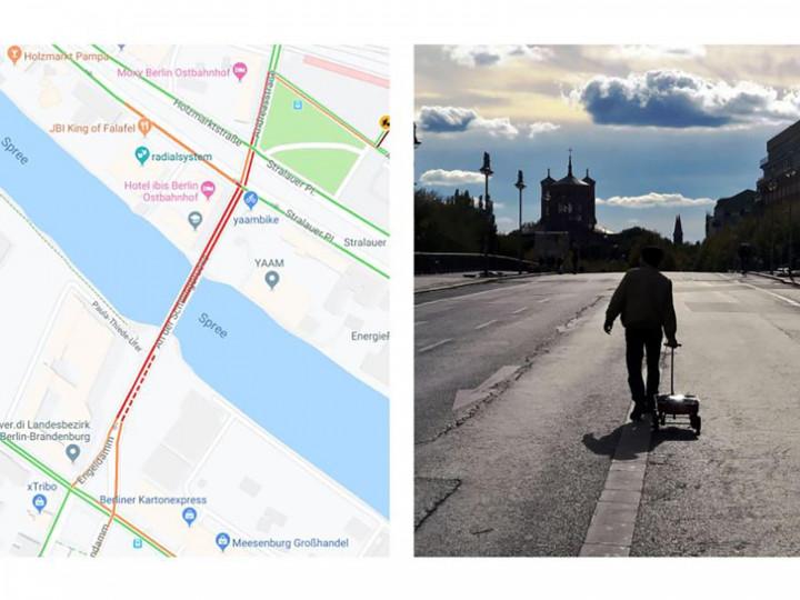 Художник создаёт виртуальные пробки в Google Maps